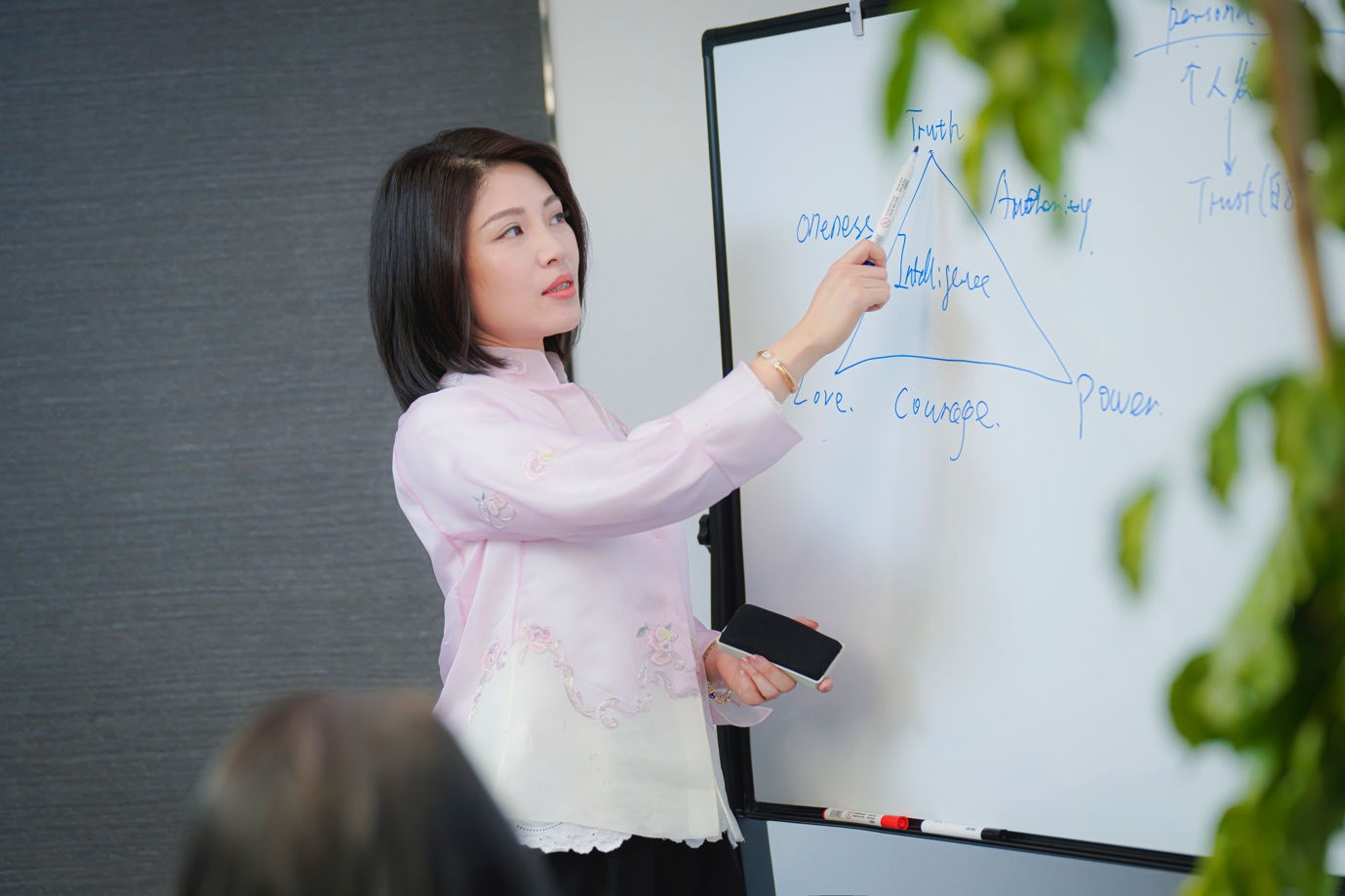 A person writing on a white board  Description automatically generated with medium confidence
